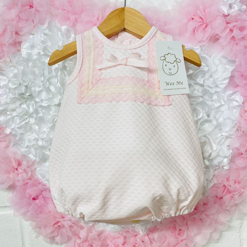 Gorgeous Baby Girl Spanish Pink Waffle Romper Lace Details